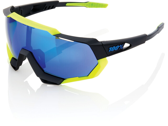 100% Speedtrap Glasses polished black/matte neon yellow | mirror